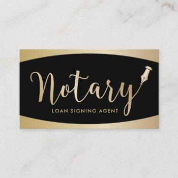notary signing agent modern black & gold business card