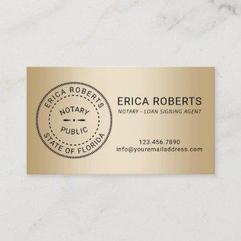 notary stamp loan signing agent modern gold business card