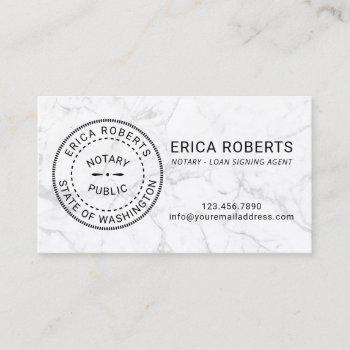 notary stamp loan signing agent modern marble business card