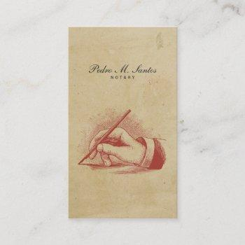 notary vintage pen hand simple cool professional business card