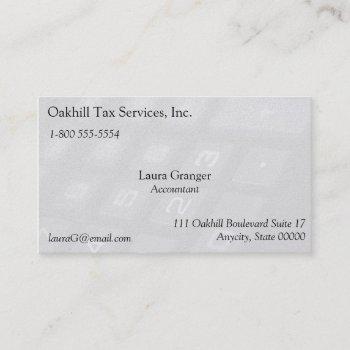 number keys on calculator fade business card