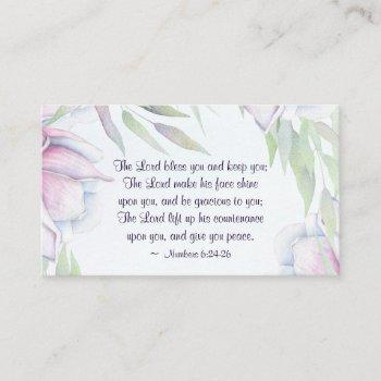numbers 6:24-26 the lord bless you, bible verse business card