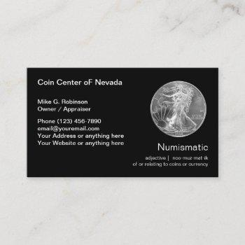 numismatic coin collecting dealer business card