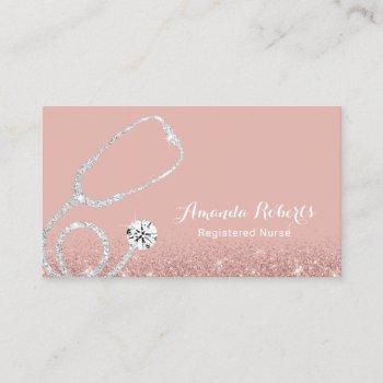 nurse caregiver elegant medical rose gold business card