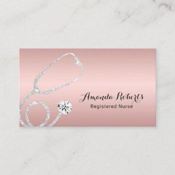 nurse caregiver elegant rose gold medical business card