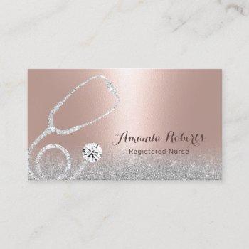 nurse caregiver modern blush rose gold medical business card