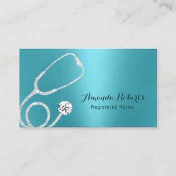 nurse caregiver modern turquoise metallic medical business card