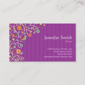 nurse - purple nature theme business card
