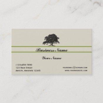 oak tree plantation in green business card