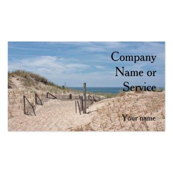 Small Ocean Beach Scene With Dune Fence And Sandy Path Business Card Front View
