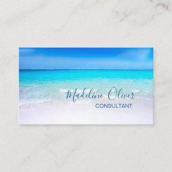 ocean beach sea travel aqua blue stylish business card