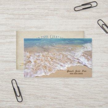 ocean beach with frothy surf business card