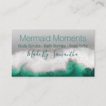 ocean blue green handmade bath bomb soak soap business card