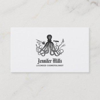 octopus hair stylist punk vintage hairstylist cool business card