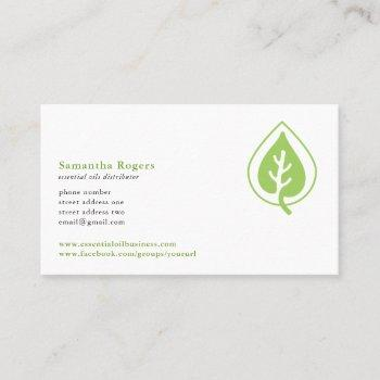 oil drop and leaf logo pattern essential oils business card