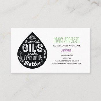 oil drop essential oils business cards