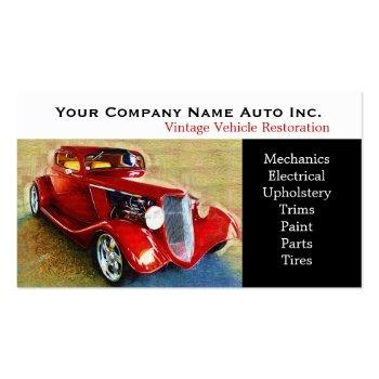 Small Old Car Repair Shop - Restorations Business Card Front View