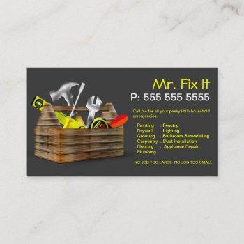 old wooden toolbox repair handyman business card