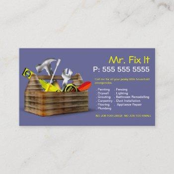old wooden toolbox repair handyman business card