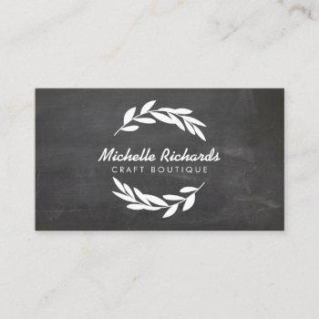 olive branch wreath logo on chalkboard background business card
