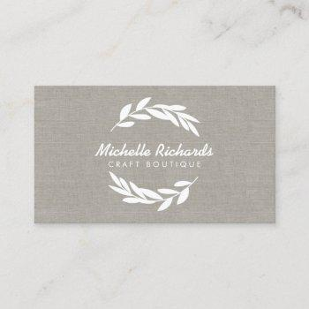 olive branch wreath logo on linen business card