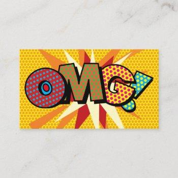 omg fun retro comic book business card