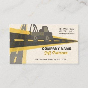 on the road tow truck automotive trucking travel business card