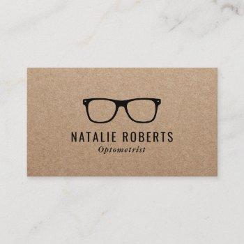 optometrist eye doctor glasses rustic kraft business card