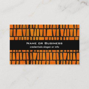 orange and black african tribal pattern business card