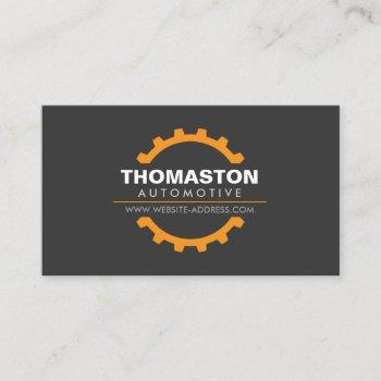 orange automotive gear auto repair, mechanic business card