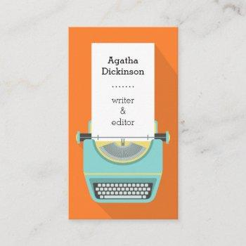 orange blue retro typewriter professional writer business card
