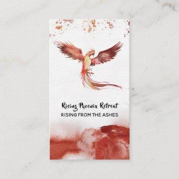 *~*  orange burgundy red feathers phoenix flame business card