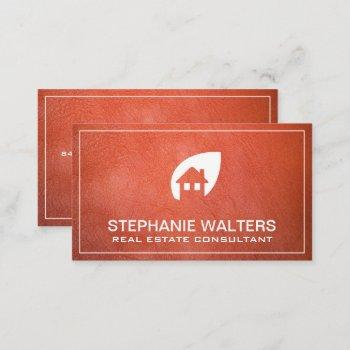 orange leather real estate | home icon business card