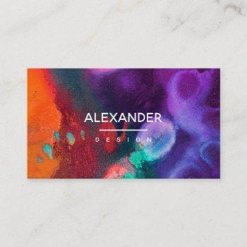 orange purple abstract watercolor business card