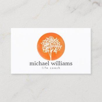 orange watercolor tree life coach ii business card