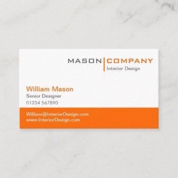 orange & white corporate business card
