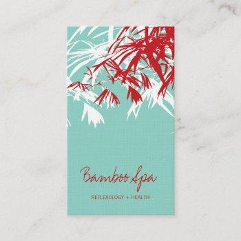 oriental asian bamboo leaves tree modern zen spa business card