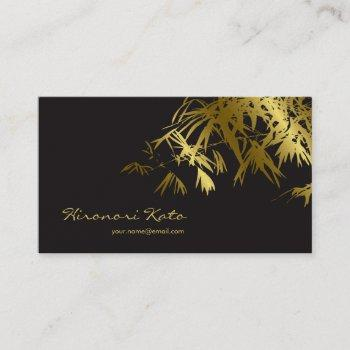 oriental gold and black bamboo leaves stylish zen business card