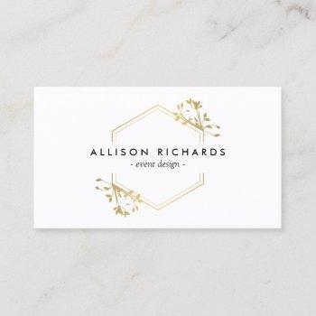 ornate gold vine and leaf emblem business card