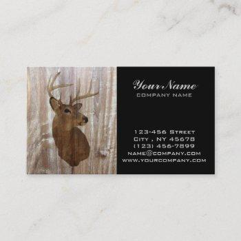 outdoorsman western primitive barn wood deer business card