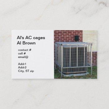 outside heat pump security cage business card