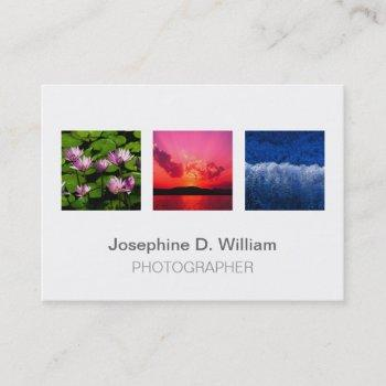 oversize 3 photos or logo white gray modern chic business card