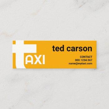 oversize alphabet-t bold yellow taxi service mini business card