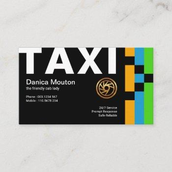 oversize bold taxi simple energetic taxi driver business card