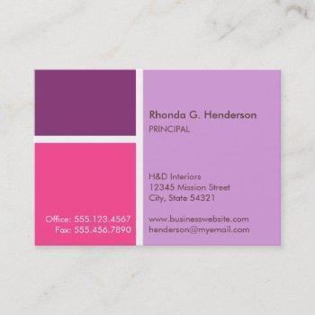 oversize modern color block purple professional business card
