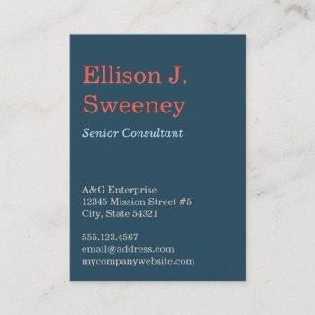 oversize navy blue professional bold type design business card