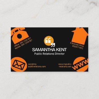 oversize social media icons public relations business card