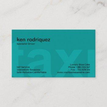 oversize taxi letters simple clean taxi service business card
