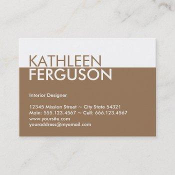 oversize two tone color block brown professional business card