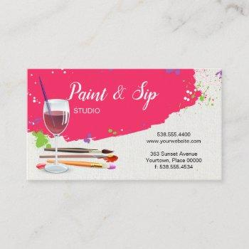 paint and sip wine glass art studio business card